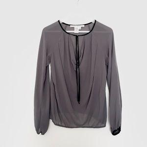 MAX STUDIO sheer grey bell sleeve blouse